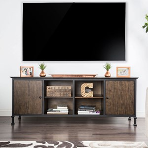 "72"" TV Stand with Metal Frame and Rear Wiring Access"