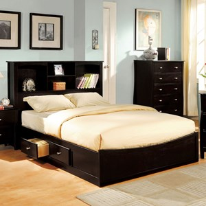 Transitional King Bookcase Bed with Open Storage