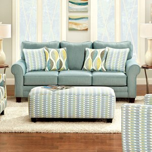 Transitional Soft Teal Sofa