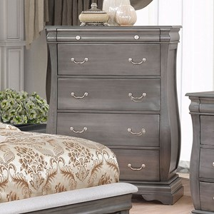 Traditional European Inspired 5 Drawer Chest with Felt-Lined Jewelry Tray Drawer