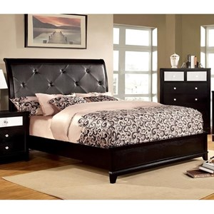 Glam Upholstered King Size Bed with Crocodile Texture and Acrylic Crystal Buttons