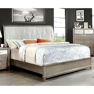 Glam Upholstered California King Size Bed with Crocodile Texture and Acrylic Crystal Buttons