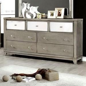 Glam Crocodile Texture 7 Drawer Dresser with Mirror Trim