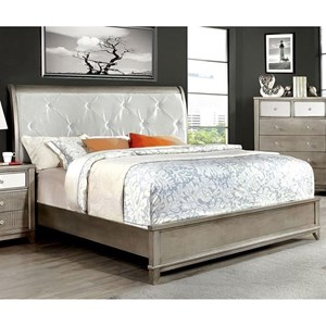 Glam Upholstered Queen Size Bed with Crocodile Texture and Acrylic Crystal Buttons