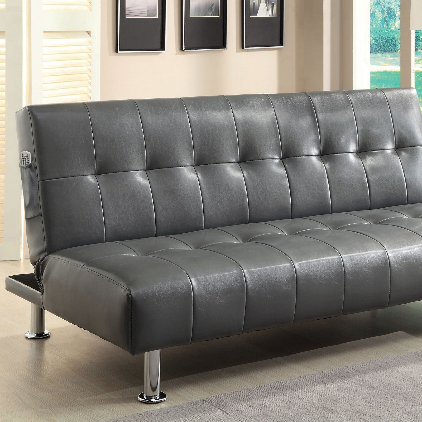 Bulle Leatherette Futon Sofa by Furniture of America at Nassau Furniture and Mattress