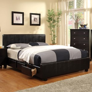 Contemporary Queen Upholstered Platform Bed with Storage
