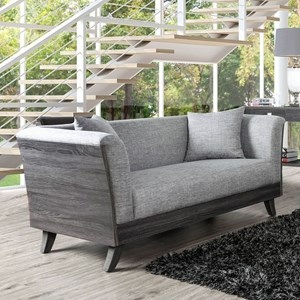 Contemporary Loveseat with Wood Sides and Backing