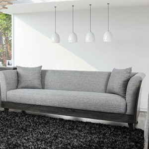 Contemporary Sofa with Wood Sides and Backing