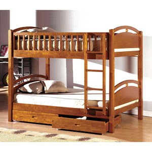Twin/Twin Bunk Bed w/ 2 Drawers *Bunkie Board Required