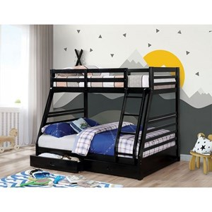 Casual Twin Over Full Youth Bunkbed with Storage Drawers