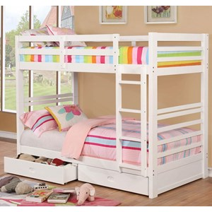 Casual Twin Over Twin Youth Bunkbed with Storage Drawers