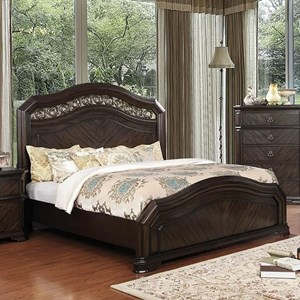 Traditional Queen Bed with Metal Scrolling