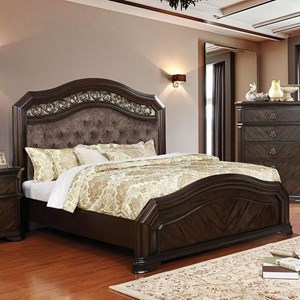 Traditional Queen Bed with Tufted Upholstered Headboard