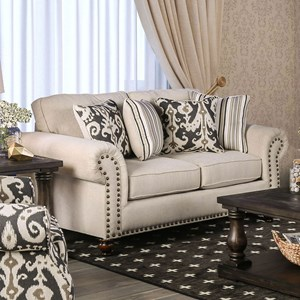 Transitional Love Seat with Nailhead Trim and Bun Feet