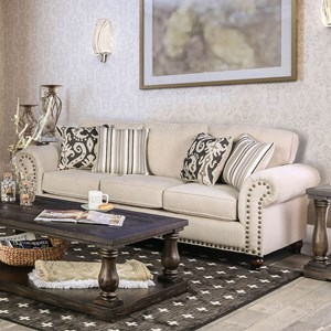 Transitional Sofa with Nailhead Trim and Bun Feet