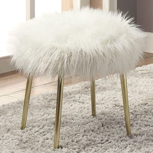 Glam Faux Fur Ottoman with Metal Legs