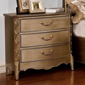 Glam Night Stand with Ornate Carved Accents