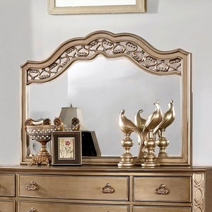 Glam Mirror with Ornate Curved Top