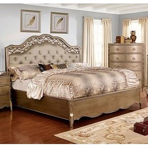 Glam Queen Bed with Button Tufted Headboard