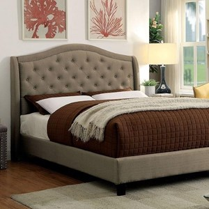 Transitional California King Upholstered Bed with Tufted Headboard