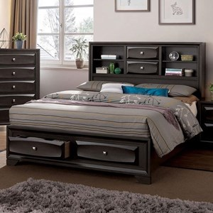 Transitional California King Bookcase Bed