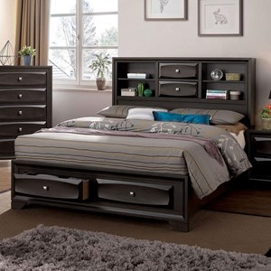 Transitional King Bookcase Bed