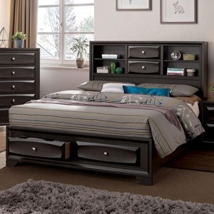 Transitional Queen Bookcase Bed