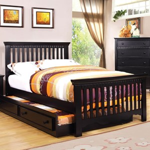 Transitional Full Size Rake Style Slat Bed with Trundle