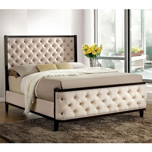 Transitional King Size Upholstered Shelter Bed with Nailheads and Button Tufting