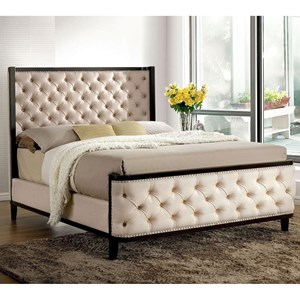 Transitional Full Size Upholstered Shelter Bed with Nailheads and Button Tufting
