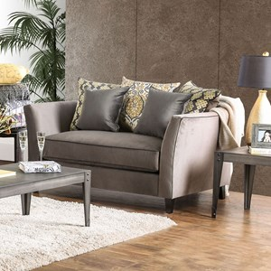 Transitional Love Seat with Flared Arms