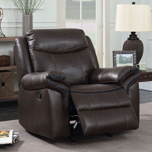 Glider Recliner with Pillow Arms and Padded Headrest