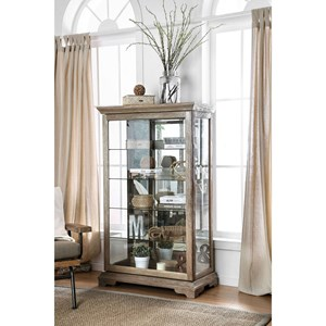 Transitional Display Shelf with Mirrored Back