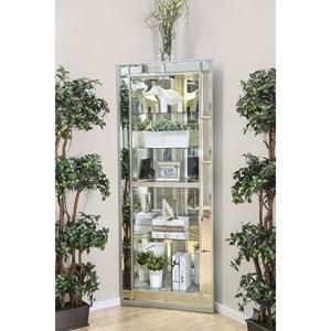 Glam Silver Corner Curio Cabinet