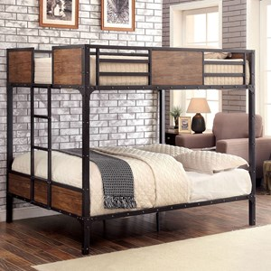 Industrial Wood and Metal Full Over Full Bunk Bed
