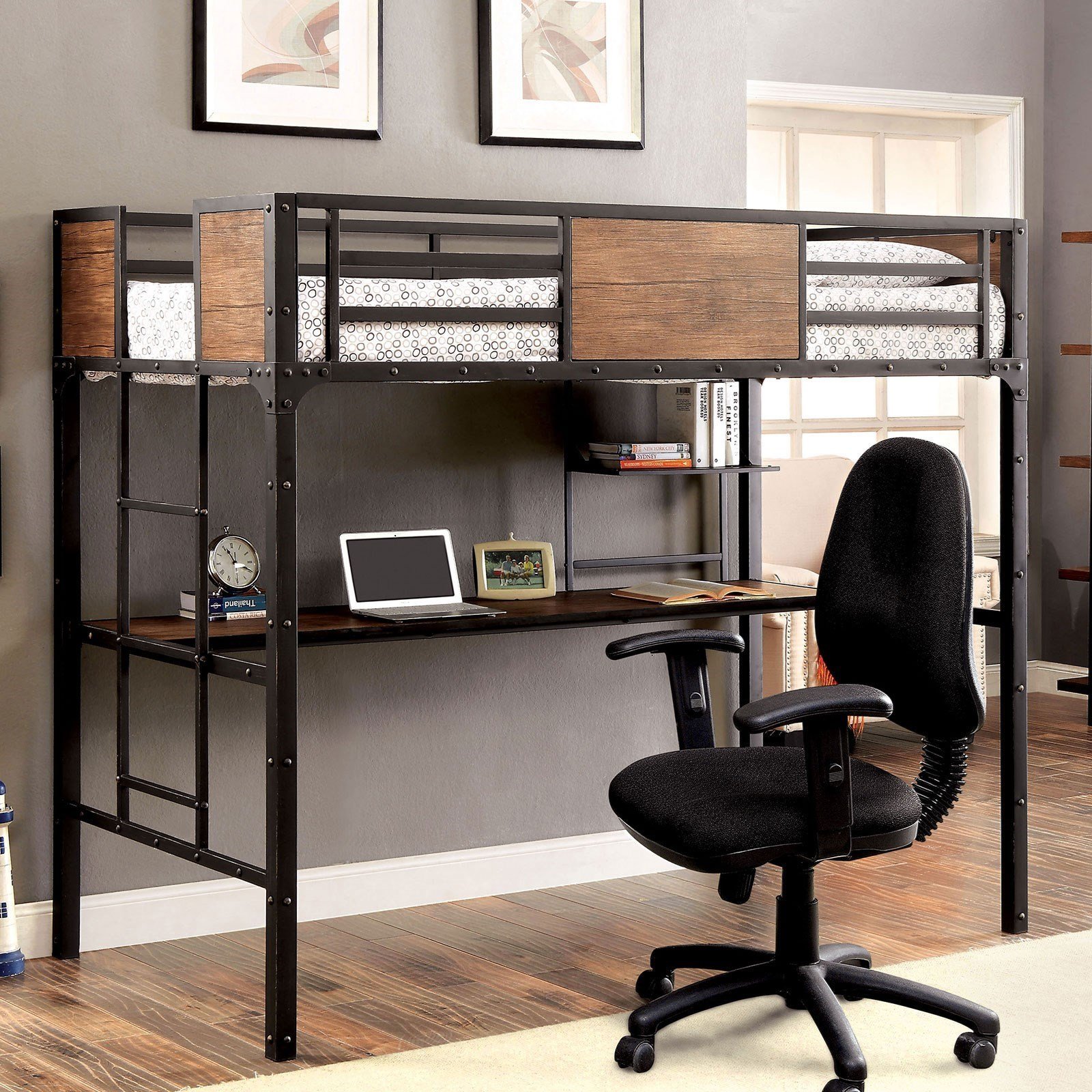 Clapton Twin Bed w/ Workstation at Household Furniture