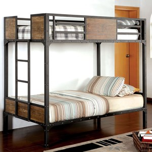 Industrial Wood and Metal Twin Over Twin Bunk Bed