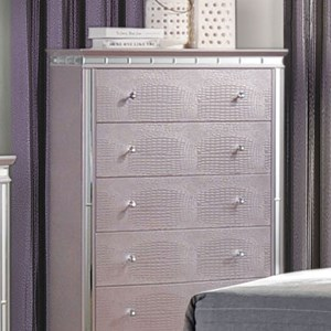 Glam Chest with 5 Drawers and Mirror Trim