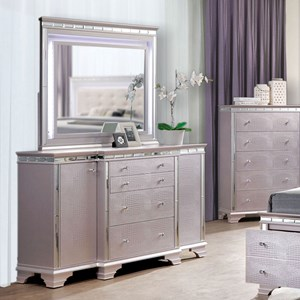 Glam Dresser & Mirror Set with LED Lighting and Jewelry Storage