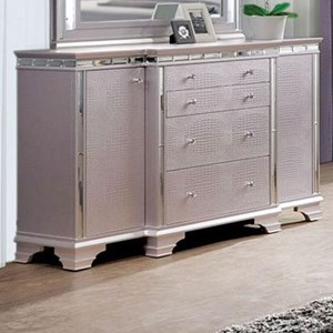 Glam 4 Drawer Dresser with 2 Cabinets and 2 Jewelry Drawers