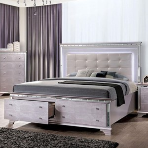 Glam King Size Bed with Footboard Storage and Built-In LED Lights