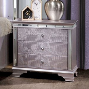 Glam Nightstand with 3 Drawers and Mirror Trim
