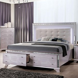 Glam Queen Size Bed with Footboard Storage and Built-In LED Lights