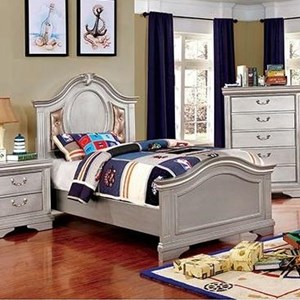 Transitional Upholstered Twin Bed with Button Tufting