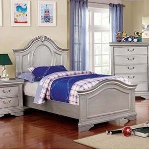 Transitional Twin Bed with Decorative Nailhead Trim