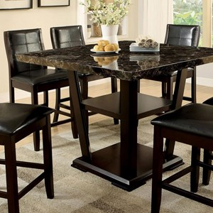Contemporary Counter Height Table with Faux Marble Top