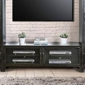 """Industrial 60"""" TV Stand with Wire Mesh Doors"""