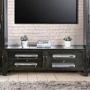 "Industrial 72"" TV Stand with Wire Mesh Doors"