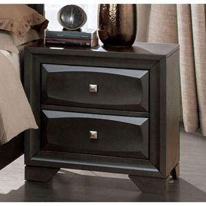 Transitional 2 Drawer Nightstand