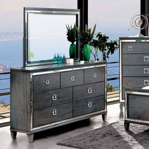 Transitional 7 Drawer Dresser and Mirror Set